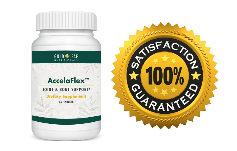 AccelaFlex bottle with 100% money back guarantee logo to the right