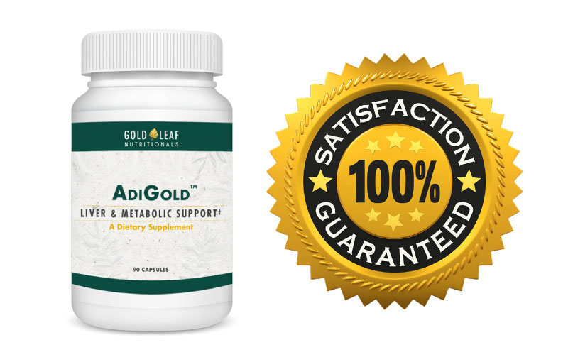 Bottle of AdiGold with satisfaction guarantee seal of approval