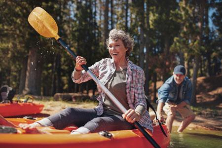 woman in a canoe
